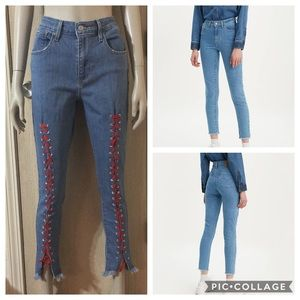 👖Levi's 721 High Rise Skinny Lace Up Jeans👖